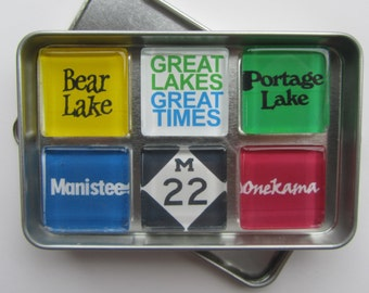 Manistee, Frankfort, Portage Lake, Bear Lake, Crystal Lake, Beulah, Onekama Michigan, Up North Michigan Magnets, Northwest Michigan Souvenir