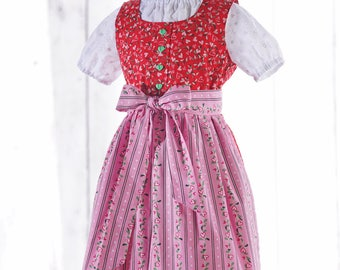 """Child-Growing Dirndl """"Charlotte"""" color red with apron"""