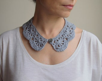Crochet PATTERN, Peter Pan collar, girl crochet cowl, vintage lace, woman collar,  DIY photo tutorial, Instant download
