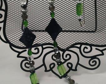 2pc Green & Black Beaded Set