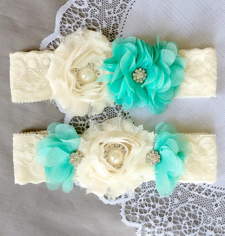 Beach Wedding Garter: Wedding Garter Bridal Garter TEAL BLUE Garter Set Lace Garter
