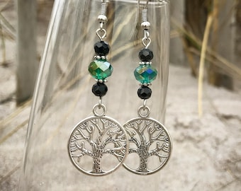 Green and Black Crystal Tree of Life Earrings