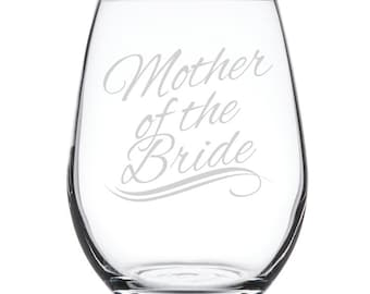Stemless White Wine Glass-17 oz.-7879 Mother of the Bride