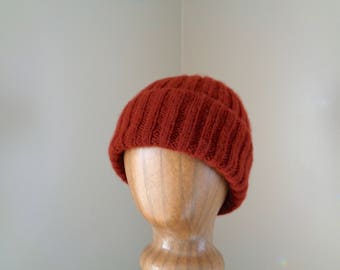 Luxury Hat, 100% Cashmere, Rust Red Orange, Hand Knit Beanie, Watch Cap, Natural Fiber, Gift for Him Her, Men Women, Special Gift