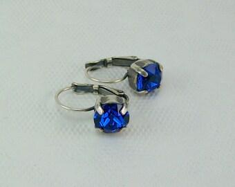 Blue Crystal Earrings, Capri Blue Earrings, Cup Set Earrings, Swarovski Crystal Earrings, Leverback Earrings, September Birthstone Earrings