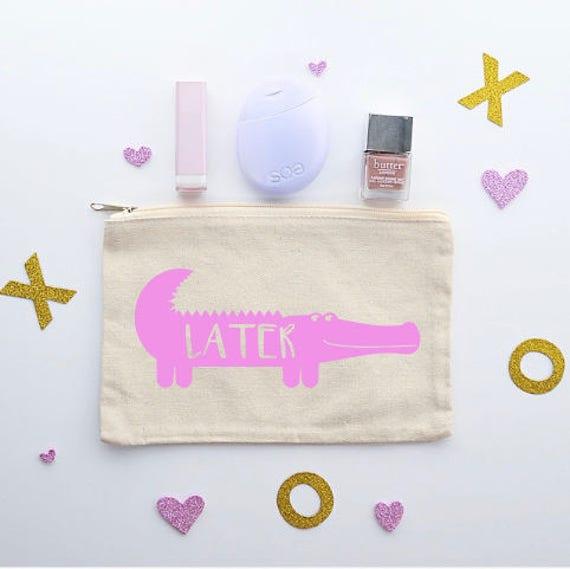 Canvas Cosmetic Bag: Later Gator - Makeup Bag