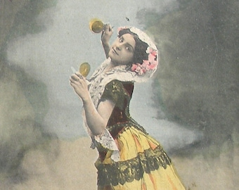 1900s postcard, Edwardian dancer with castanets, RPPC Real photo postcard, paper ephemera.