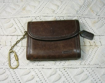 Brown Coach Wallet, Coinpurse, Key Ring, Flap & Snap