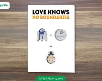 DOWNLOAD Printable Card - I Love You Card - Star Wars Card - BB8 - R2D2 - Happy Birthday - Happy Anniversary - Valentines Card