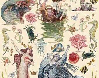 Mermaids Scrapbooking Download, Digital Collage Sheet, Sea Maidens, Sirens, Fairy Tale Mermaids  Instant  Download Printables