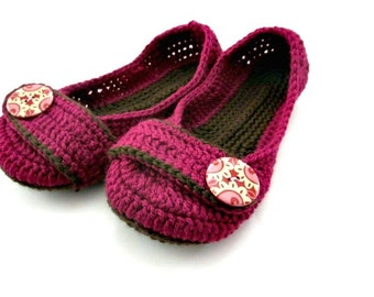 Women's Crochet Slippers - Button Slippers - fuschia and brown - womens crochet shoes knit slippers
