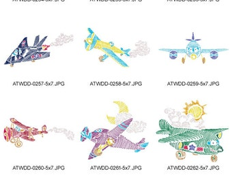 Zig-Zag-Planes ( 10 Machine Embroidery Designs from ATW )