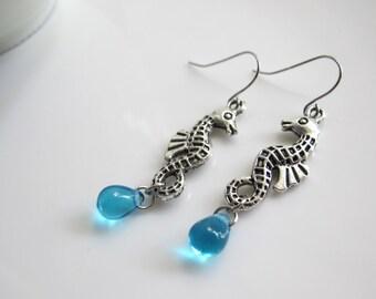 Sea horse Earrings, Blue Drop, Modern Dangle Earrings. Everyday Jewelry, Mediterranean Nautical Summer Beach Earrings