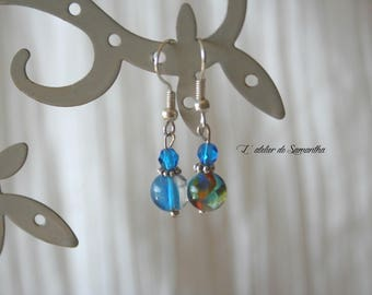 Earrings made of glass beads handcrafted in blue