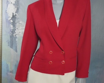 1990s Double Breasted Red Blazer, Womens European Vintage Professional Smart Jacket: Size 12 US, Size 16 UK