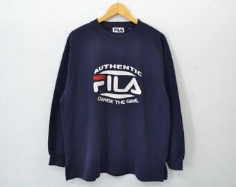 Fila Sweater Vintage 90's Fila Big Logo Fila Pullover crewneck Sweatshirt Activewear Size L