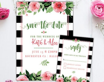 Save the Date Watercolor Invite - Black and white striped invite - Watercolor Floral - Save the Date - Reply Card Watercolor - DIGITAL