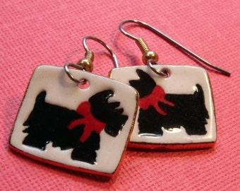 Scottie Terrier Dangle Porcelain Earrings