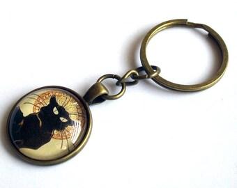 Le Chat Noir Keychain ~ Black Cat Keyring ~ Cat Lover Gift ~ Cat Keyring ~ Art Nouveau Jewelry