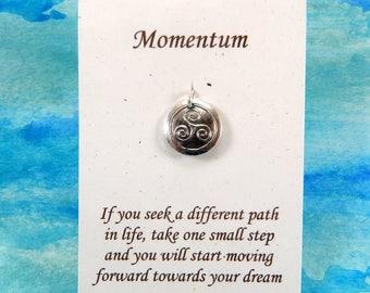 Tiny Triskele Pendant, Inspirational Jewelry, Personalize, Triple Spiral Pendant, Celtic Jewelry, Fine Silver Charm