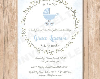 Carriage Baby Shower Invitation | Vintage, Laurel, Leaves, Stroller, Shabby Chic, Boy, Couples - 1.00 each printed