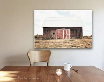 Red Barn Canvas Gallery Wrap, Farmhouse Decor, Rustic Home Decor, Barn Wall Art, Weathered Barn Photograph