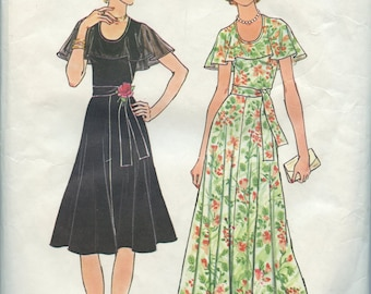 Vintage 1970s Does 1930s Garden Party Dress Pattern- Simplicity 7382- Size 14- Bust 36