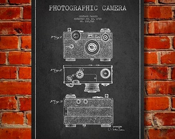 1938 Photographic Camera Patent, Canvas Print, Wall Art, Home Decor, Gift Idea