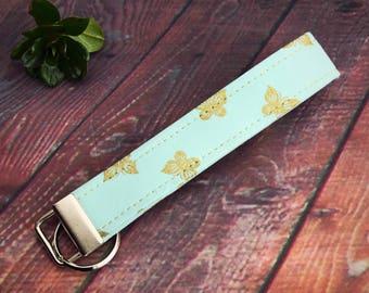 Butterfly wristlet, key fob, fabric key fob, key chain, stocking stuffer