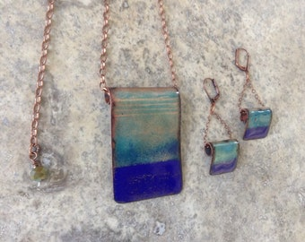 Abstract Ocean Blue Necklace Earrings Set.  Blue copper enamel set. Blue necklace and Earring set.