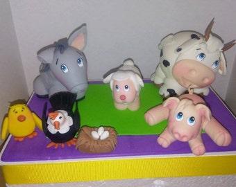 farm Animals cake topper set