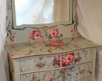 Victorian Dresser custom decorated and painting one of a kind for a woman