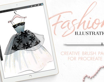 Procreate Fashion Illustration Brushes and Templates Set, glitter brush, lace brush, watercolor brush, procreate app brushes, textile brush