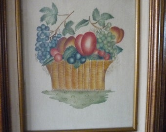 Pot of Plums and Grapes - Louise Rivers Theorem painting - work on velvet - Excellent condition - 16.5 x 14 x 1.5 framed art