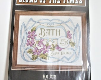 Signs of the Times Vintage Counted Cross Stitch Kit Bath 25 Cents Soap Extra Picture Kit Unopened Cross Stitch Kit JCA Inc. Craft Supply