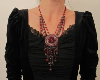 Baroque, vintage necklace, bohemian necklace, red, black, silver