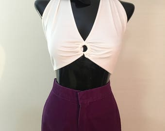 Vintage bell-bottoms, wide-legged purple pants, white crop top, vintage pants, women's vintage pants, vintage crop top, vintage scarf