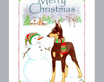 Doberman Pinscher Red Christmas Cards Box of 16 Cards & Envelopes