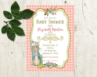 PETER RABBIT Baby Shower Invitation | Choose Your Background | Add-Ons Available