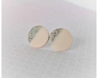 Blush earrings faux stone earrings lightweight earrings gift for her pink earrings polymer clay jewelry stud earrings nickel free earrings