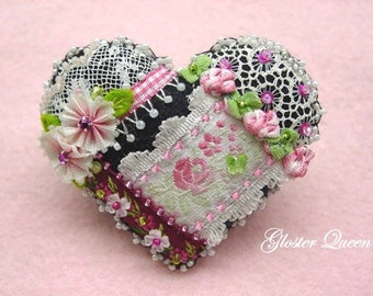 Crazy Quilt heart pin with beautiful French ribbon roses and vintage lace trims