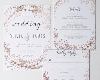 Printable Wedding Invitation, Wedding Invitation Set, Wedding Invitation Suite, Wedding Invitation Digital Download, Boho Wedding Invitation