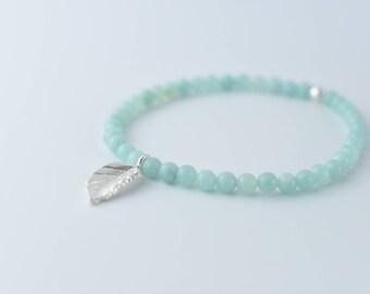 Amazonite Bracelet, Semi Precious Stone Bracelet, Leaf Bracelet, Amazonite Charm Bracelet, Beaded Bracelet, Boho Bracelet, Stacking Bracelet