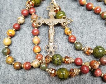 Painted Jasper Bronze Rosary Catholic Gift Handmade HeartFelt Rosaries
