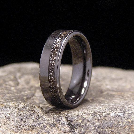 Meteorite Shavings Wide Offset Inlay Black Zirconium Wedding