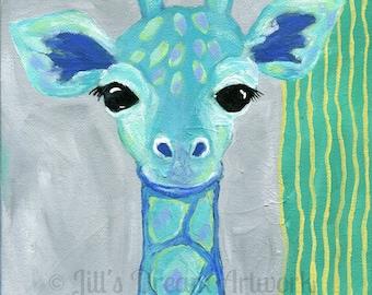 Giraffe Print, Kid's Room Decor, Blue and Green Giraffe Art Print, 8x8 Print, Boy's Room, Girl's Room, Jungle Animal, Gray Blue Green