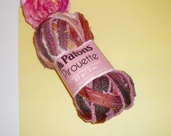 Knitting Yarn Metallic Sequins 17 Yards Pinks Cranberry Sienna Sparkle Knit Supplies Repurpose Yarn