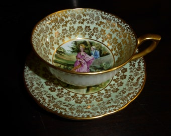 Vintage Windsor Courting Couple Teacup and Saucer Mint Green and Gold Circa 1950's NO. 368/66