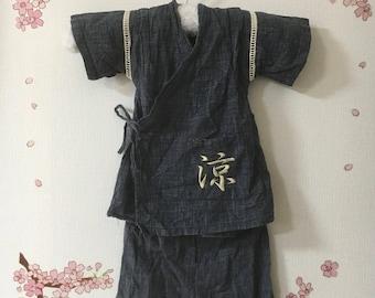 Summer Kimono Jinbei, Blue With Traditional Design, Toddler Jinbei, Kids Yukata, Kids Kimono, Two Piece Shirt And Short, Kids Pajama