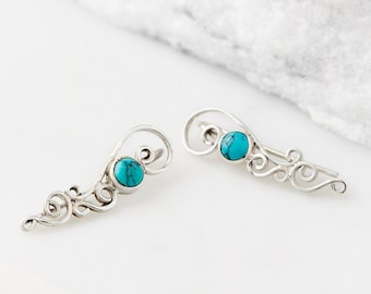 Turquoise Ear Climbers, Climber Earrings, Ear Cuffs, Ear Crawlers, Boho Earrings,Turquoise Earrings For Women,Ear Sweeps,Earring Pins, JE235